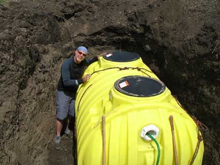 "Mike in the hole, with ""the yellow submarine""!"
